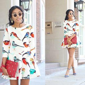 NWT White Peplum Bird Blogger Scuba Dress